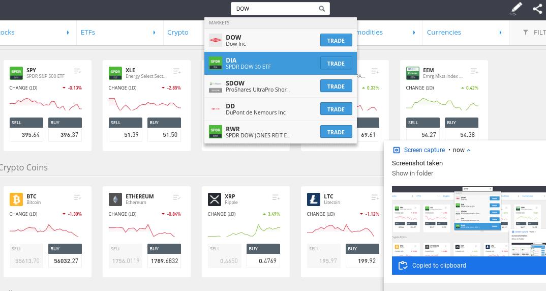 index funds etoro